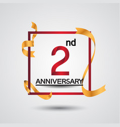2 anniversary design with red color in square vector