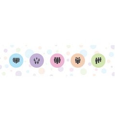 5 persons icons vector