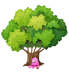 A poisoned pink monster under the tree vector image