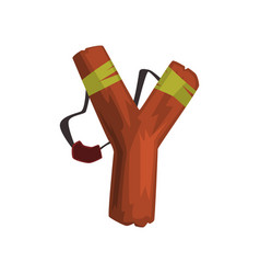 Alphabet letter y formed by wooden slingshot vector
