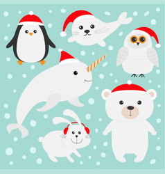 Arctic polar animal set in red santa hat white vector