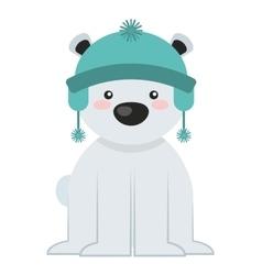 bear polar christmas character isolated icon vector image