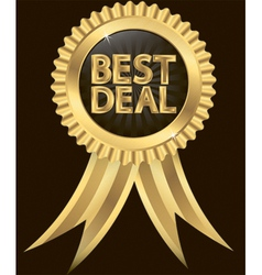 Best deal golden label with ribbons vector image