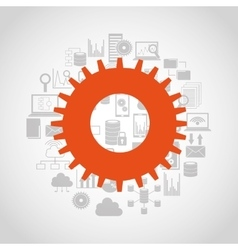 Big data center flat icons vector