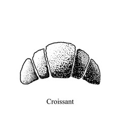 black and white croissant on a white background vector image