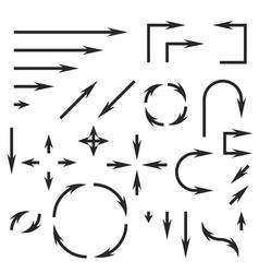 black arrows set set of icons and icons vector image