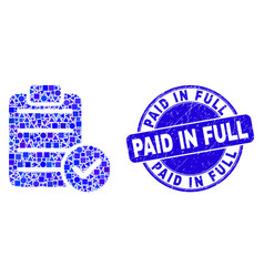 Blue grunge paid in full stamp seal and accept pad vector