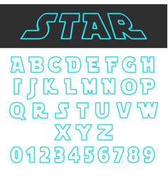 blue lines design alphabet font template set of vector image