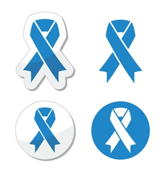 Blue ribbon - drunk driving child abuse symbol vector image
