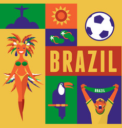 Brazil background with icons and vector