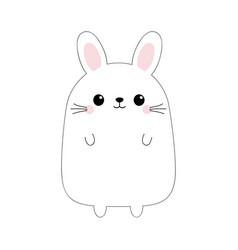 bunny rabbit funny head face doodle linear sketch vector image