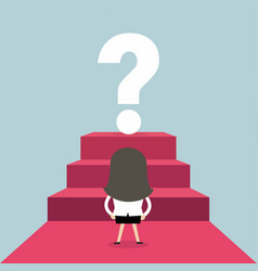 businesswoman looking at big question mark vector image