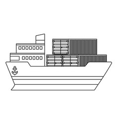 Cargo big ware ship cartoon vector