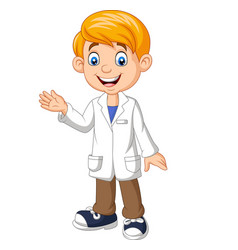 cartoon boy scientist wearing lab white coat wavin vector image