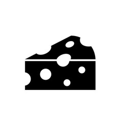 cheese black icon on white background piece vector image