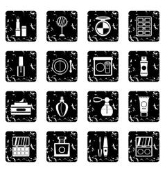Cosmetics icons set grunge style vector