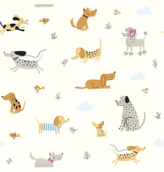 cute little dogs seamless pattern vector image