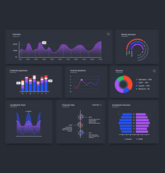 dashboard charts infographic web page data vector image