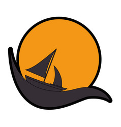 Emblem with sailboat icon vector
