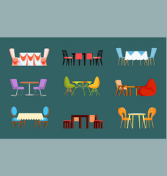 Empty design view table with chairs vector