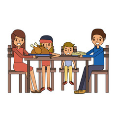 Family smiling gathered sitting for dinner vector
