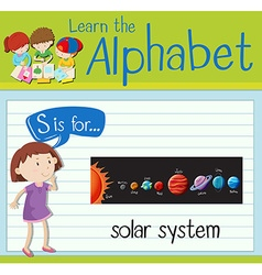 Flashcard letter S is for solar system vector
