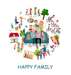 flat happy family round concept vector image