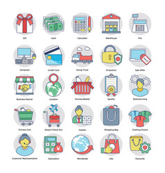 Flat set of shopping and commerce vector