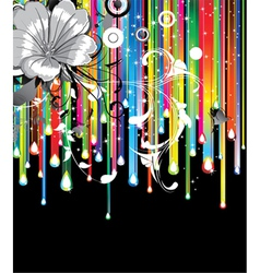 Floral background with rainbow vector