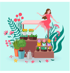 Florist girl with pots flowers and plants vector