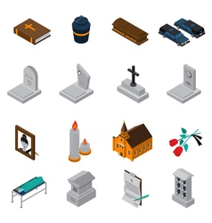 Funeral isometric icons set vector