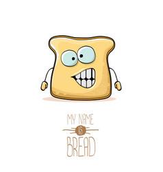 funny cartoon cute sliced bread character vector image
