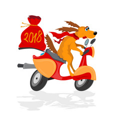funny dog on a scooter with a gifts sack vector image
