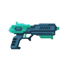 Futuristic gun blaster green and black space vector