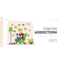 gadget addiction cellphone communication landing vector image