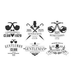 Gentleman club vintage logo templates set fashion vector