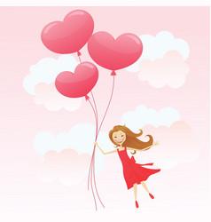 Girl with heart balloons vector