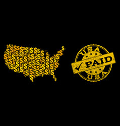 golden dollar collage of mosaic map of usa and vector image