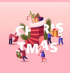 happy characters celebrating christmas party vector image
