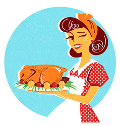 housewife portrait with roasted chicken on plate vector image