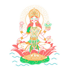Icon godess laxmi vector