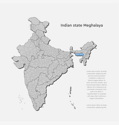India country map and state meghalaya vector