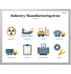 Industry manufacturing icons flat pack vector