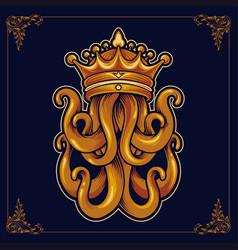 kraken king octopus with crown luxury vector image