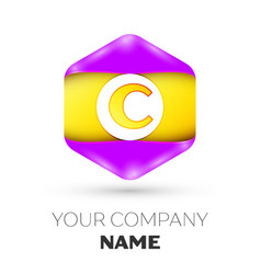 letter c logo symbol in colorful hexagonal vector image