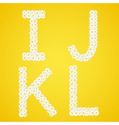 Letters ijkl composed from daisy flowers complete vector