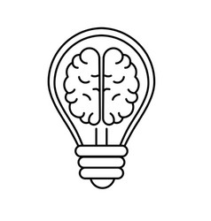Line creative bulb with brain inside over white vector