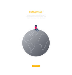 Loneliness concept - modern isometric web vector