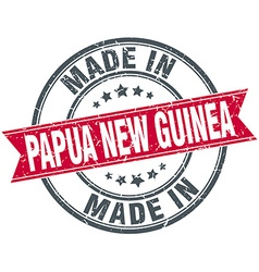 Made in Papua New Guinea red round vintage stamp vector