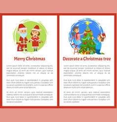 merry christmas and decorate xmas tree posters vector image